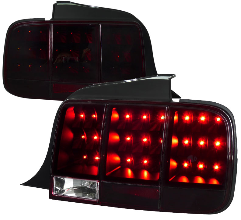 05-09 Mustang Taillights Gen 10 - LED built in Sequential Blink 1 - 2 - 3 Taillights - RED SMOKED (Pair)