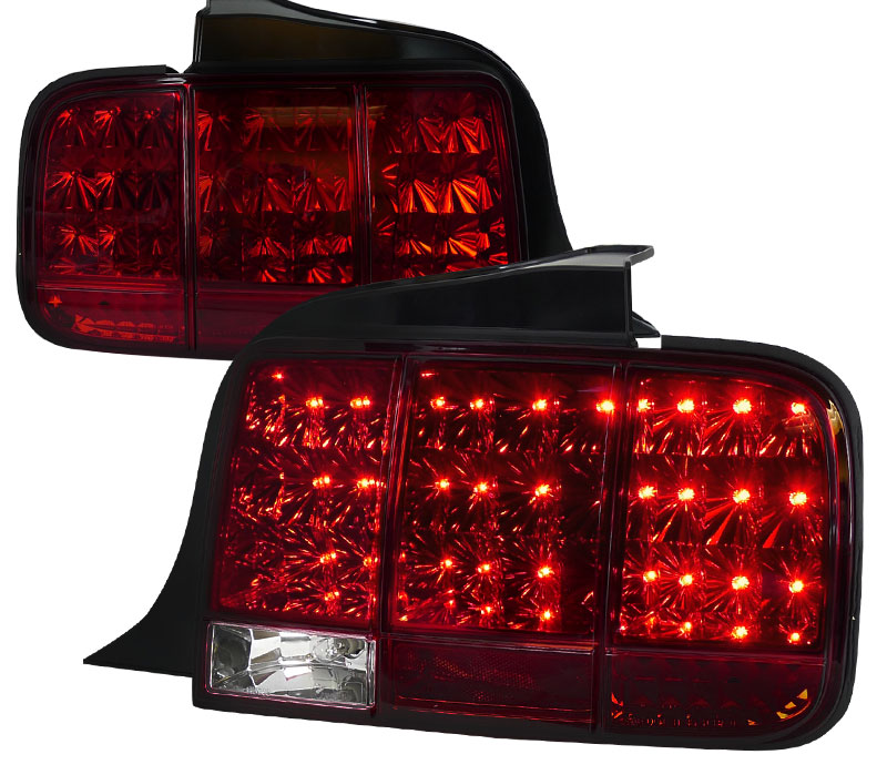 05-09 Mustang Taillights Gen 10 - LED built in Sequential Blink 1 - 2 - 3 Taillights - RED (Pair)