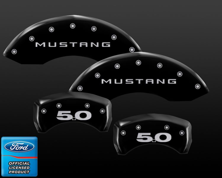 1979-2013 Mustang MGP Caliper Cover 4PC kit - (RED - BLACK - SILVER + 6 EMBLEM OPTION CHOICES)