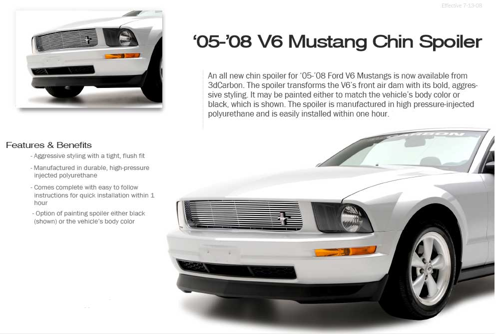 2005-2009 Mustang 3D Carbon V6 only Chin Spolier (Paint Options)