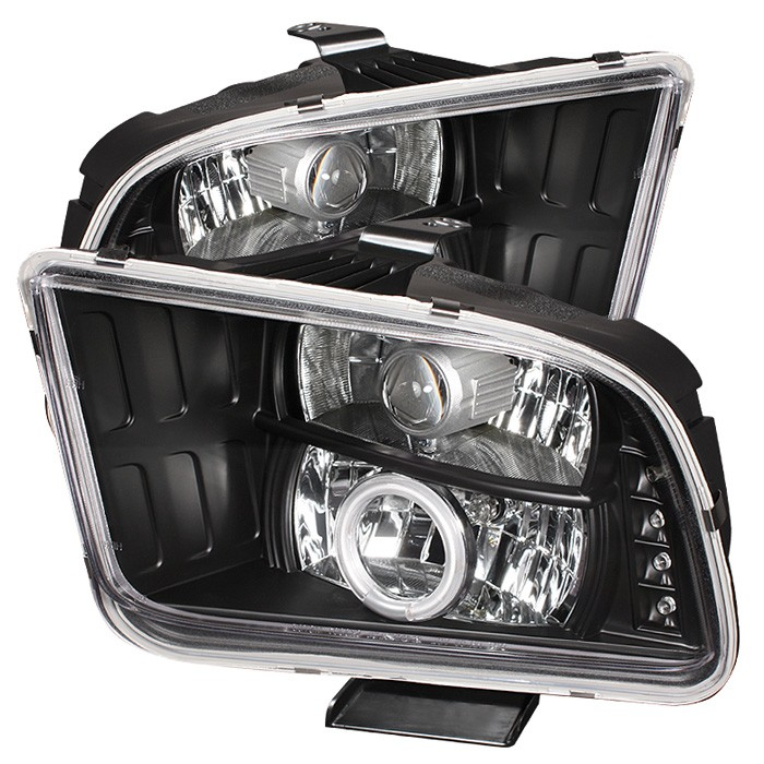05-09 Mustang Headlights GEN 4 PROJECTOR with HALO CCFL and Split Halo - BLACK (Pair)