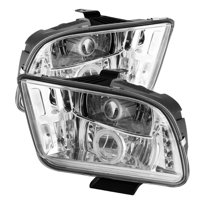 05-09 Mustang Headlights GEN 4 PROJECTOR with HALO CCFL and Split Halo - CHROME (Pair)