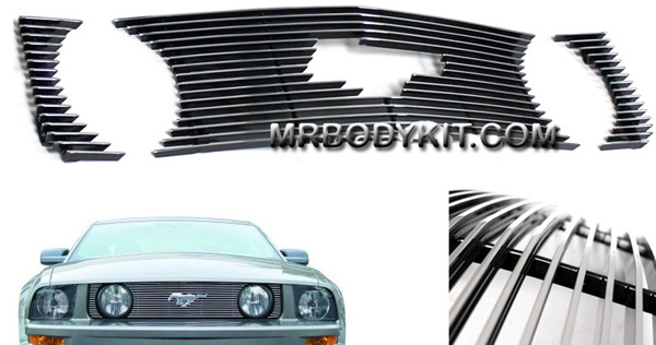 05-09 Mustang GT - 3PC Upper Billet Grille - with Pony cut out (801113) CHROME or BLACK