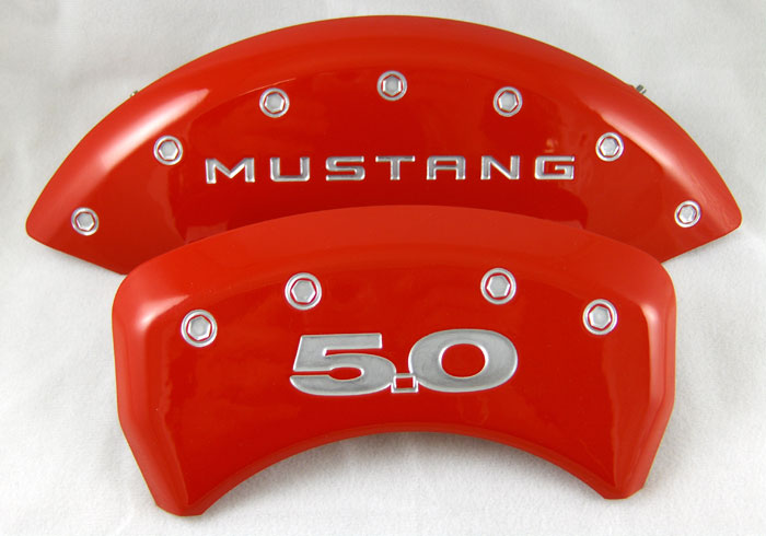 2011-2013 Mustang GT 5.0 Caliper Cover (Set of 4) - RED - 5.0 Logo