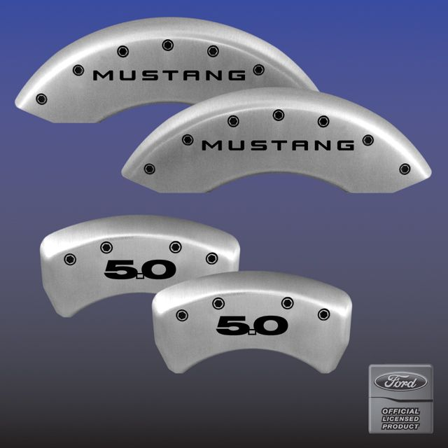 2011-2013 Mustang GT 5.0 Caliper Cover (Set of 4) - SATIN SILVER - 5.0 Logo