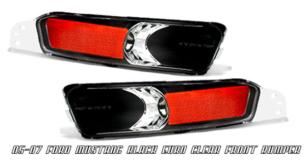 05-09 Mustang Front Bumper Lights - BLACK - With Amber (Pair)
