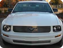 05-09 Mustang V6 - Upper & Lower Billet Grille COMBO - with Pony cut out CHROME or BLACK