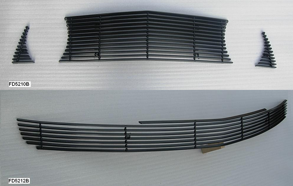 2010-12 Mustang GT 3pc Upper / Lower Billet Grille COMBO - No Cut out - Black
