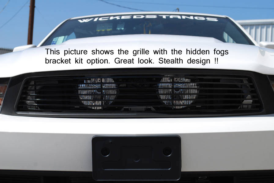 2010-12 Mustang GT Upper 1PC Fog Light Delete Billet Grille - 7 Bars - CHROME - FULL REPLACEMENT GRILLE