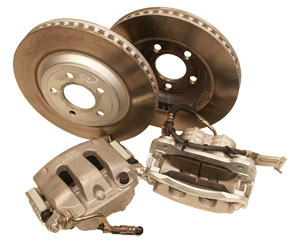 2005-2009 Mustang GT OE Front Brake Caliper and Rotor Set R/L w/Pads (2 Calipers 2 Rotors)