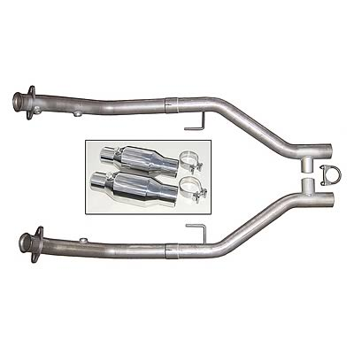 "2005-2010 Mustang GT 4.6L Stainless Steel 2.5"" H-Pipe w/ Cats - PYPES"