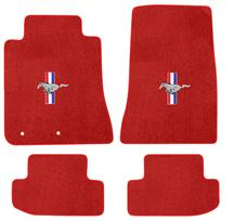2015 Ford Mustang Lloyd Floor Mats - Pony & Bars Emblem - RED