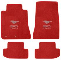 2015 Ford Mustang Lloyd Floor Mats - 50th Anniversary Emblem - RED