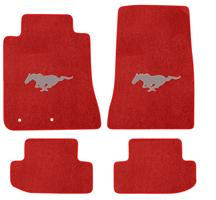 2015 Ford Mustang Lloyd Floor Mats - Silver 2015 Pony Emblem - RED