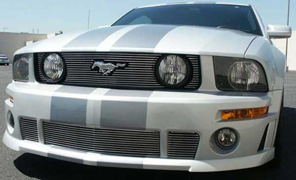 05-09 Mustang ROUSH Lower 3PC Billet Grille - BLACK