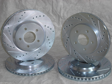 2005-2009 Mustang GT/V6 Cross Drilled and Slotted Rotor Set
