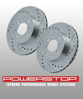 2005-2011 Mustang GT Power Stop Rear Rotors - Drilled & Slotted