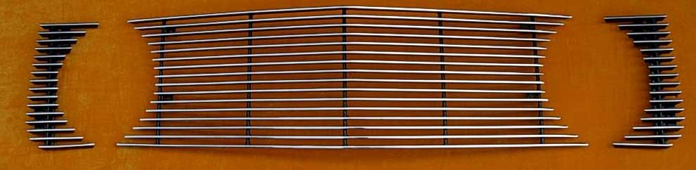 05-09 Mustang GT - 3PC Upper Billet Grille - No Cut out for Pony (801114) CHROME or BLACK