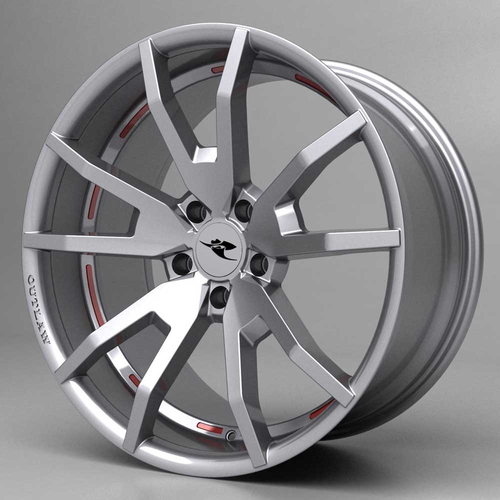 20 INCH OUTLAW Wheel Package - GLOSS HYPER SILVER - 05-15 Mustang (20x9 + 20x10)