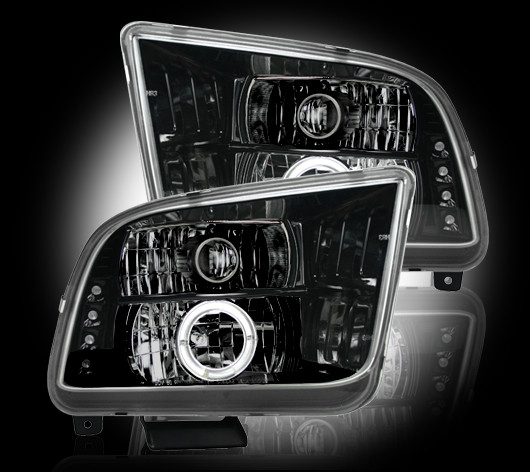 05-09 Mustang Headlights GEN 6 PROJECTOR with HALO and LED Turn Signals Recon - BLACK (Pair)