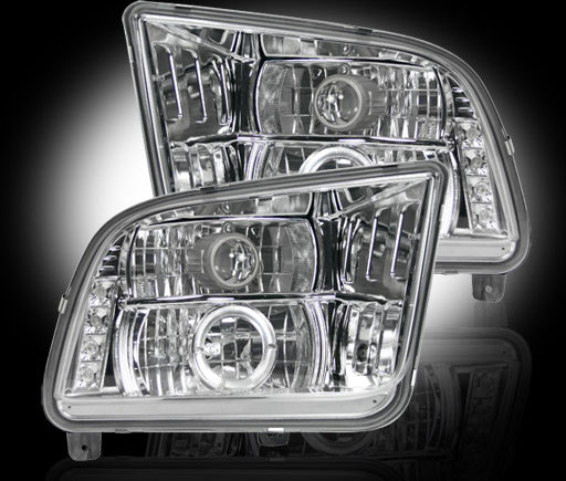 05-09 Mustang Headlights GEN 6 PROJECTOR with HALO and LED Turn Signals Recon - CHROME (Pair)