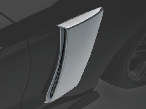 Roush 2015-2019 Mustang Quarter Panel Side Scoops Ingot Silver UX Painted