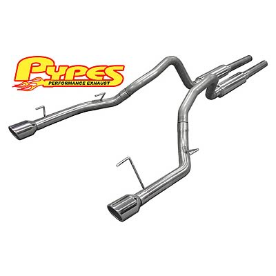 "2005-2010 Mustang GT 4.6L Mid-Muffler M-80 System w/ Mid-Pipes, Muffler-Delete Axle-Back w/ 4"" Polished Tips"