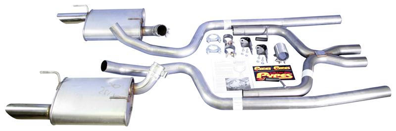 2005-09 Mustang V6 Dual Exhaust Kit w/ X Pipe - Manual Trans