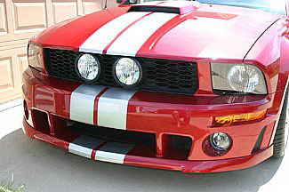 "2005-09 Street Scene Mustang Center Fog Light Grills ""HONEYCOMB STYLE"" V6 KIT"