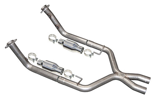 "2005-2010 Mustang GT 4.6L 2.5"" X-Pipe Kit w/ Polished Cats (for Short Tube Headers) - By PYPES"