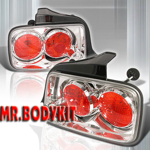 2005-2009 COMBO Mustang Gen 3 - SMOKED (Pair) & Taillights Gen 1 - Euro CHROME (Pair)