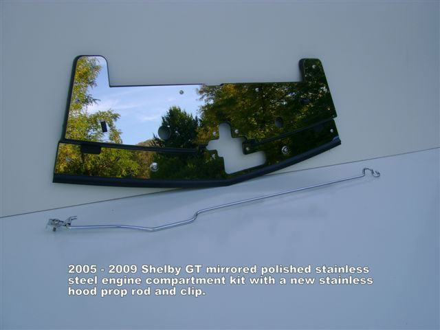 2005-2009 Mustang Shelby GT Radiator Stainless Cover w/hood prop rod - Mirrored Polish or Brushed Finished