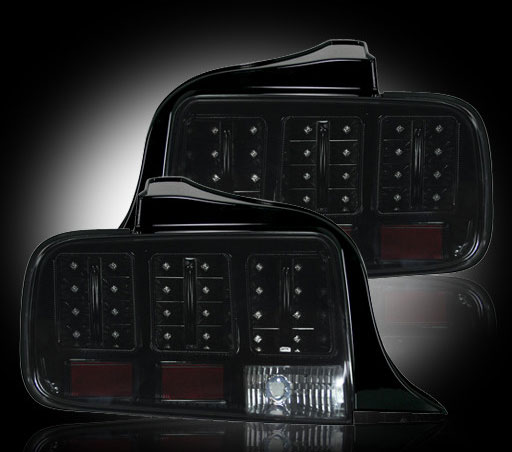 2005-2009 COMBO Mustang Headlights Gen 1 projector BLACK & Taillights Gen 6 - LED Recon SMOKED (pair)
