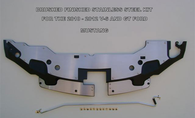 2010-2012 Mustang V6 & GT Radiator Stainless Cover w/hood prop rod - Mirrored Polish or Brushed Finished