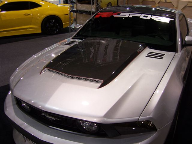 2010-2012 GT/V6 (NOT 10-12GT500) Mustang RK Sports Ram Air Hood - Fiberglass with Carbon Fiber Blister Scoop (GT & V6)