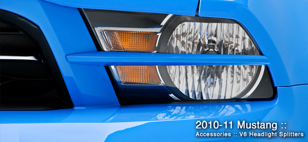2010-2012 Mustang 3D Carbon Headlight Splitters for V6 (Paint Options)