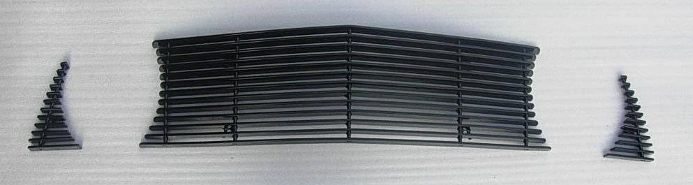 2010-12 Mustang GT 3pc Upper Billet Grille - No Cut Out for Pony - BLACK