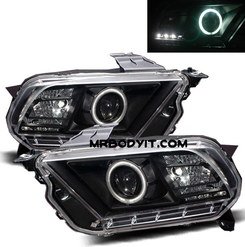 2010-2014 Mustang Headlights PROJECTOR GEN 1 - HALO (CCFL) - BLACK CLEAR (Pair)