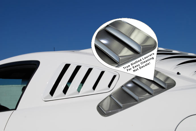 2010-14 Mustang V6 & GT - SALE Upper Louvers ABS PLASTIC - OPEN LOUVER 5 SLOT(PAIR)
