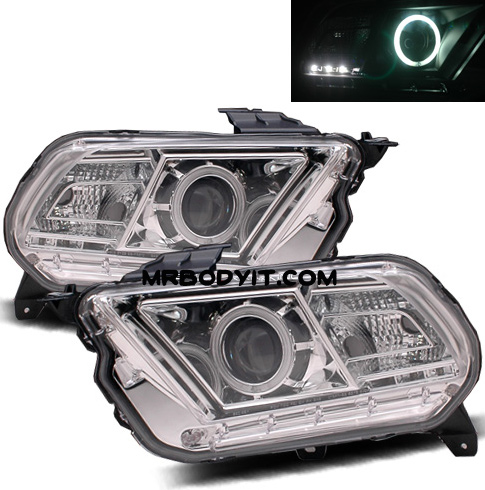 2010-2014 Mustang Headlights PROJECTOR GEN 1 - HALO (CCFL) - CHROME CLEAR (Pair)