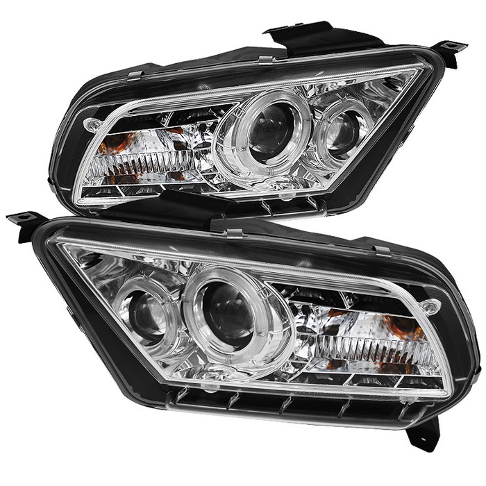 2010-2012 Mustang Headlights PROJECTOR GEN 4 - DRL LED - CHROME