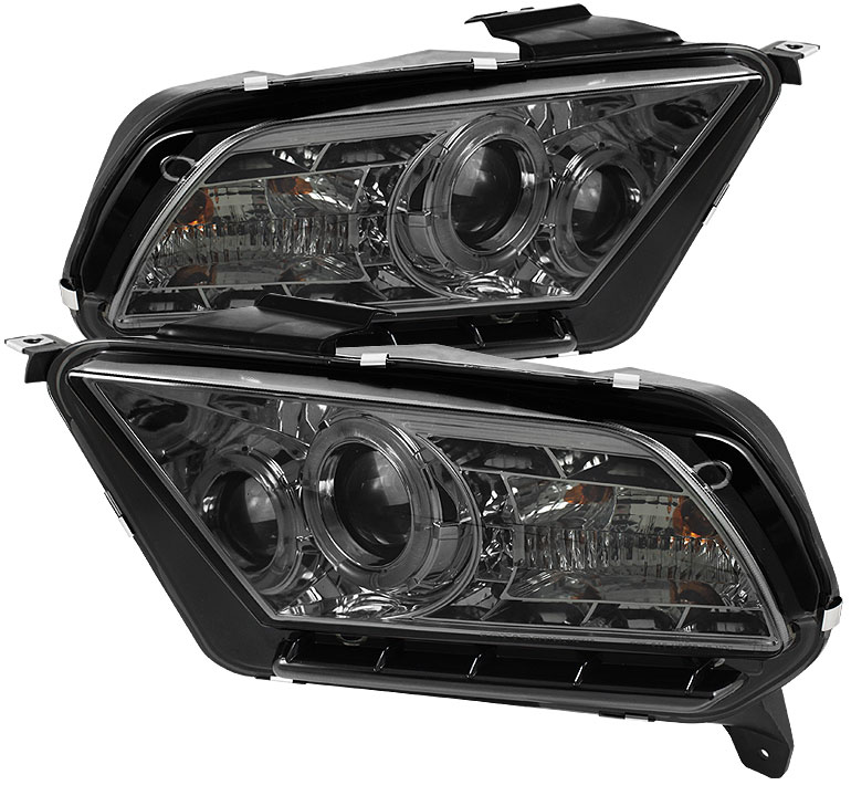 2010-2014 Mustang Headlights PROJECTOR GEN 4 - DRL LED - SMOKED LENS