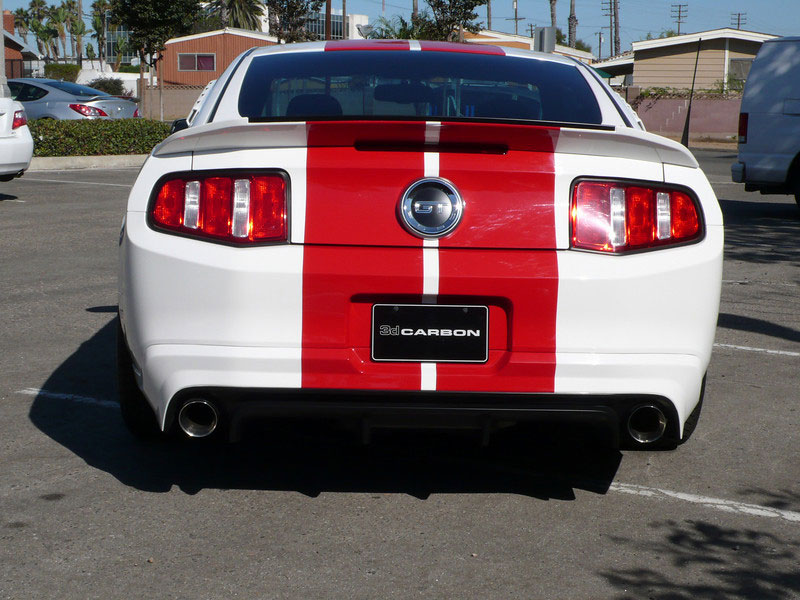 2010-2012 Mustang 3d Carbon Boy Racer - Rear Bumper Skirt V6 or GT with Pre-Drilled Backup Sensor Holes (Paint Options)