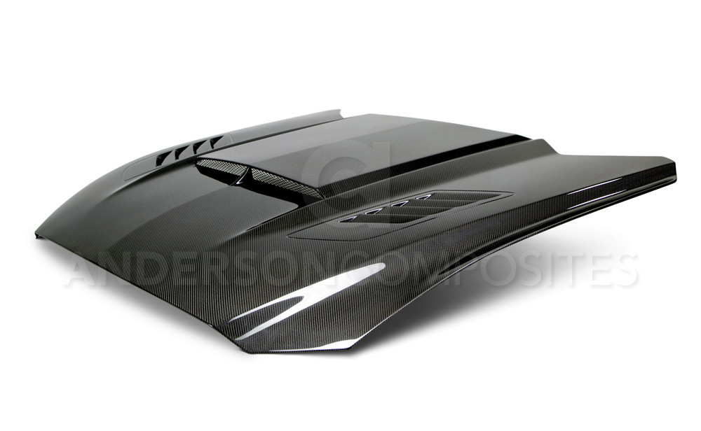 2015-2017 Mustang Carbon Fiber RAM AIR Hood (Fits all 15+ Models) DOUBLE SIDED TOP AND BOTTOM CARBON FIBER