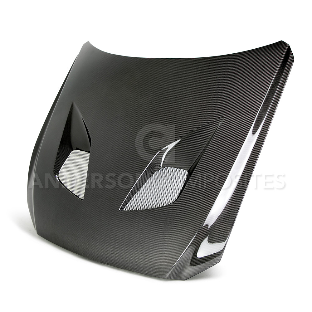 2015-2017 Mustang Carbon Fiber Cowl TYPE-TT Hood (Fits all 15+ Models) DOUBLE SIDE TOP AND BOTTOM CARBON FIBER