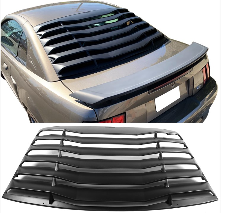 94-04 Mustang Rear Window Louver Kit - ABS BLACK FINISH