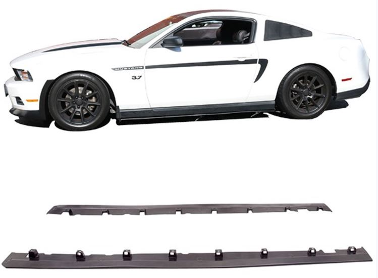 2010-2014 Mustang Mustang GT Bottom-Line Style Polyurethane Diffuser Side Skirts - BLACK (PAIR)