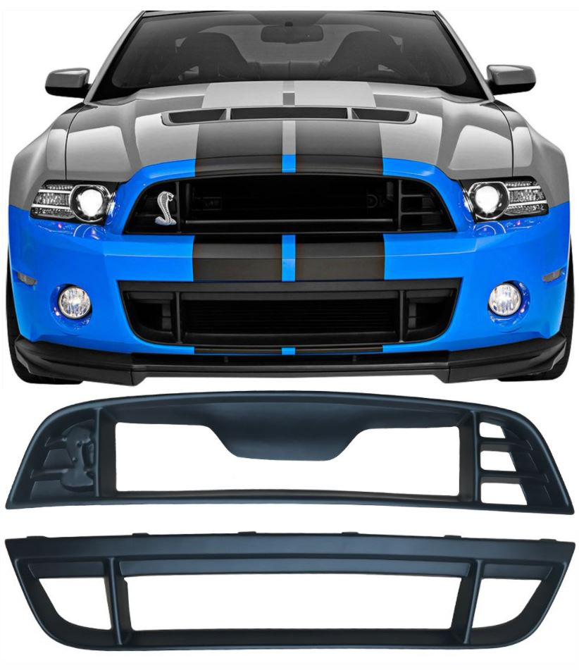 2010-2014 Mustang GT500 Style Mustang Front bumper - Polypropylene (With Upper/Lower Grille + Fogs)