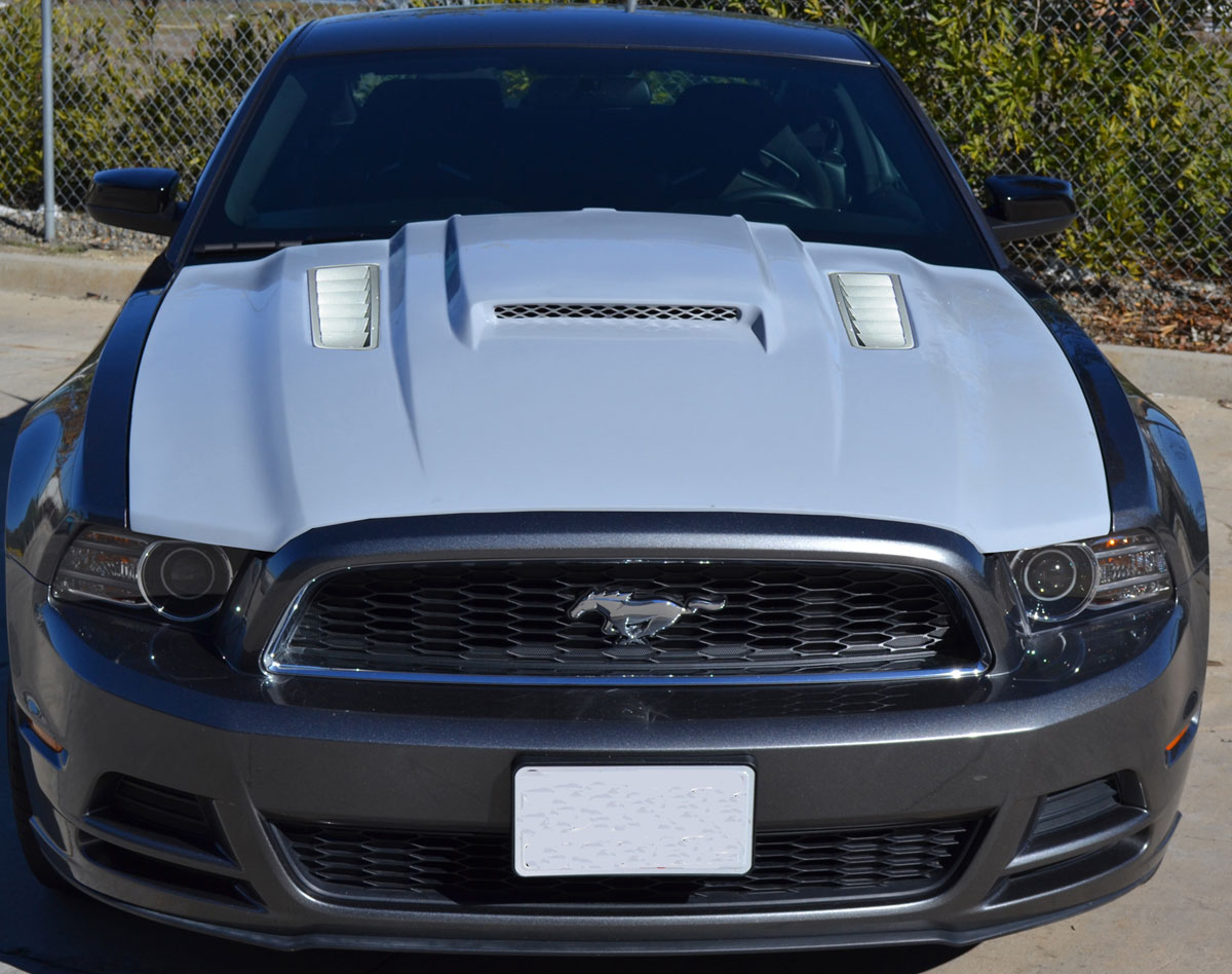 2010-2014 GT500 (NEW 2013-14 GT/V6) Supercharged style Mongoose Hood - Fiberglass
