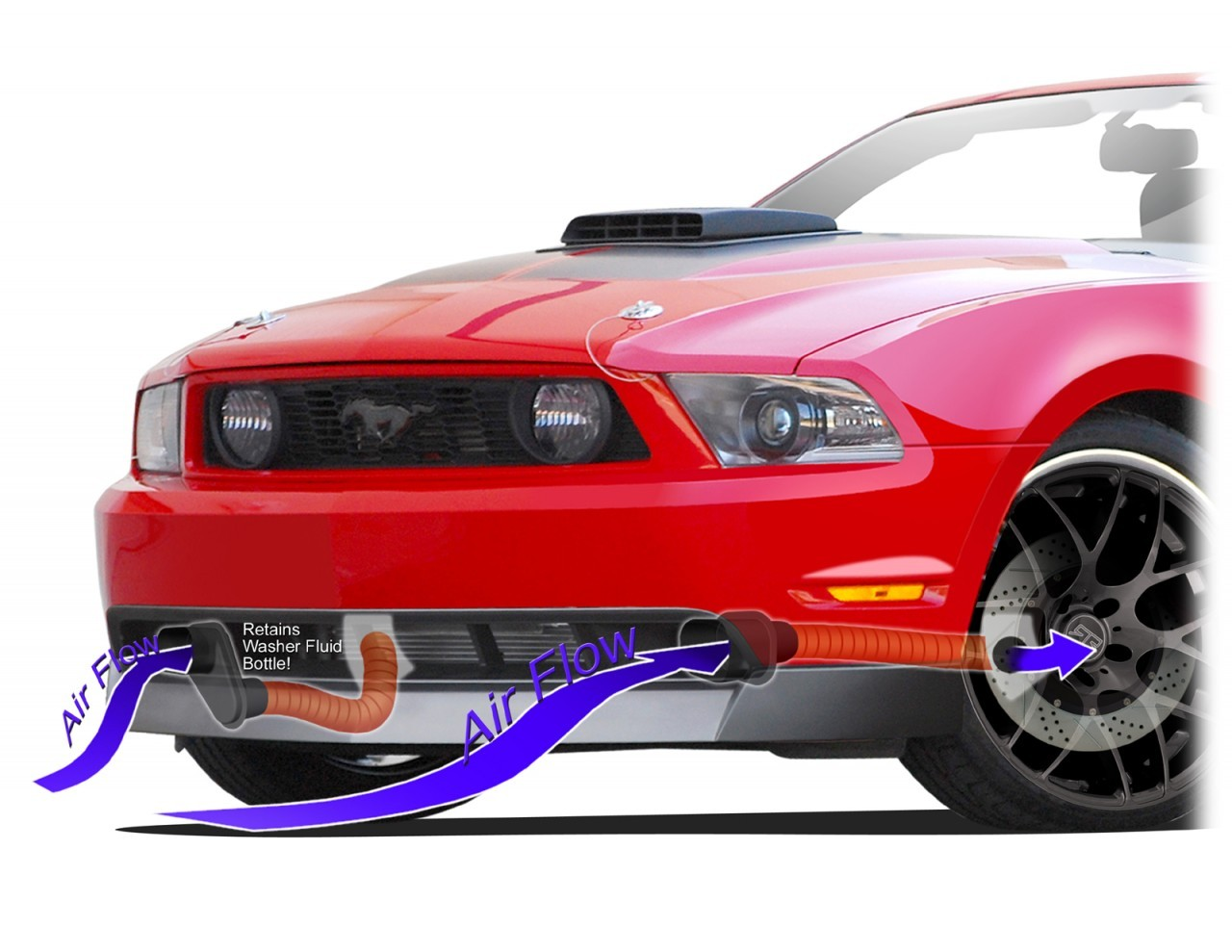 2010-2012 Mustang Chin Spoiler Brake Duct Kit for CDC Chin Spoiler
